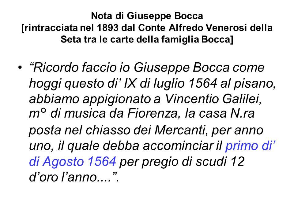 Nota di Giuseppe Bocca [rintracciata nel 1893 dal Conte Alfredo Venerosi della Seta tra le carte della famiglia Bocca]